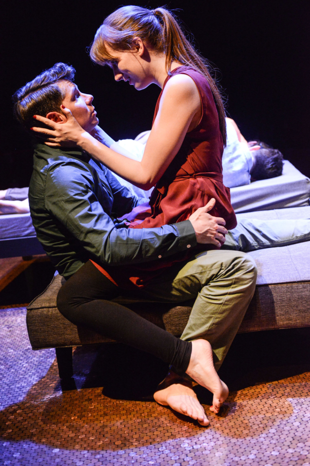 <p>Karl Davies (Sam) and Nicola Kavanagh (Melanie) in <em>Deposit</em></p><br />© Robert Day