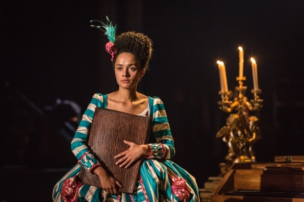 <p>Karla Crome as Constanze Mozart in <em>Amadeus</em></p><br />© Marc Brenner