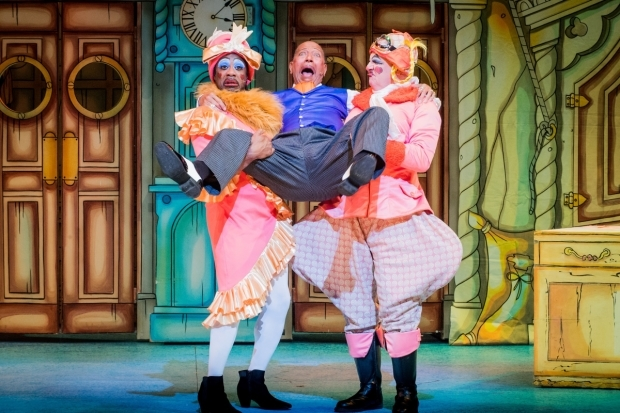 <p>Kat B and Tony Whittle (the Ugly Sisters) and Peter Straker (Baron Hardup)</p><br />© Robert Workman