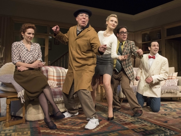 <p>Katherine Parkinson (Eleanor), Steve Pemberton (Brian), Emily Berrington (Lisa), Rufus Jones (Richard) and Ralf Little (Nick)</p><br />© Alastair Muir