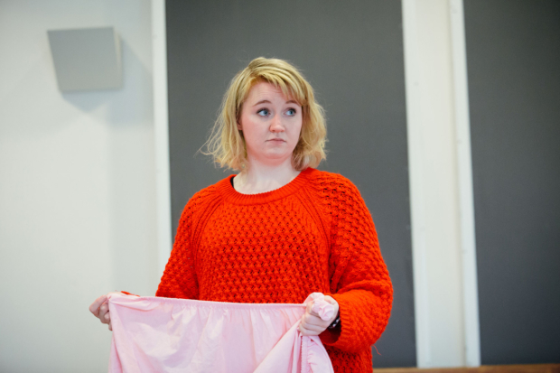 <p>Katherine Pearce rehearsing for <em>Low Level Panic</em> </p><br />© Helen Murray