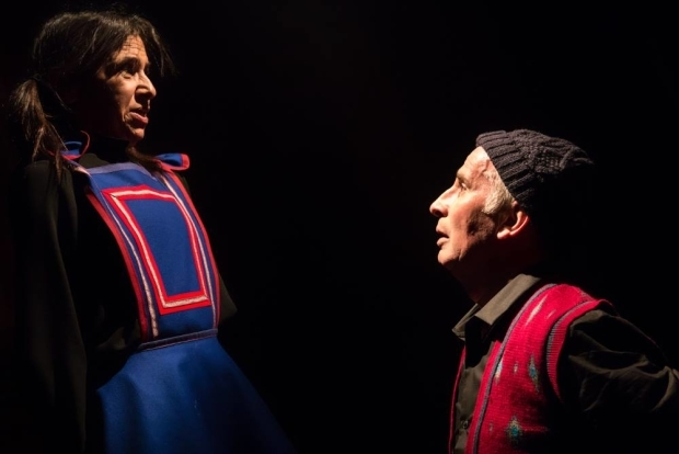 <p>Kathryn Hunter and Marcello Magni in <em>Out of Blixen</em></p><br />© Dan Fearon