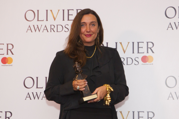 <p>Katrina Lindsay with the award for Best Costume Design for <em>Harry Potter and the Cursed Child</em> at Palace Theatre</p><br />© Dan Wooller for WhatsOnStage
