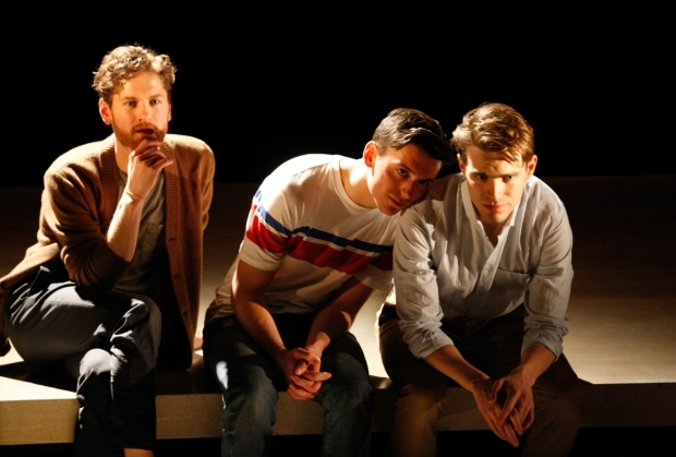 <p>Kyle Soller, Samuel H Levine and Andrew Burnap  in <em>The Inheritance</em></p><br />© Simon Annand