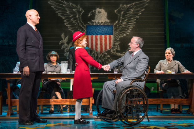 <p>l-r Alex Bourne (Daddy Warbucks), Ruby Stokes (Annie), Russell Wilcox (Franklin D. Roosevelt)  in <em>Annie</em></p><br />© Paul Coltas