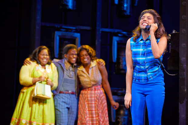 <p>(l-r) Amber Riley, Tyrone Huntley, Ibinabo Jack and Liisi LaFontaine in <em>Dreamgirls</em></p><br />© Brinkhoff - Moegenburg