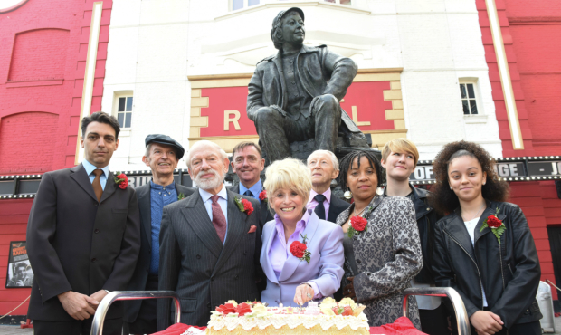 <p>L-R Kerry Michael, Philip Hedley, Philip Jackson, Robin Wales, Barbara Windsor, Murray Melvin, Jo Melville, Caroline Bird, Alex Jarrett,</p><br />(c) Robert Day
