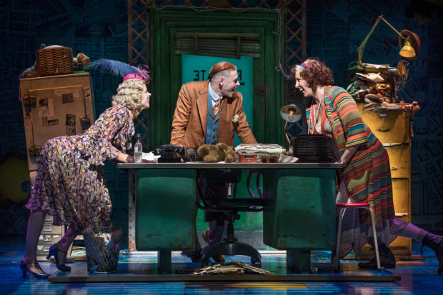 <p>Djalenga Scott (Lily), Jonny Fines (Rooster) and Miranda Hart (Miss Hannigan) in <em>Annie</em></p><br />© Paul Coltas