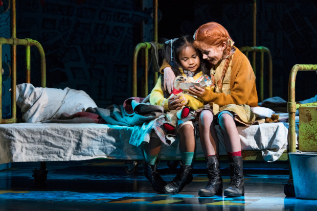 <p>l-r Nicole Subebe (Molly) and Ruby Stokes (Annie)  in <em>Annie</em></p><br />© Paul Coltas