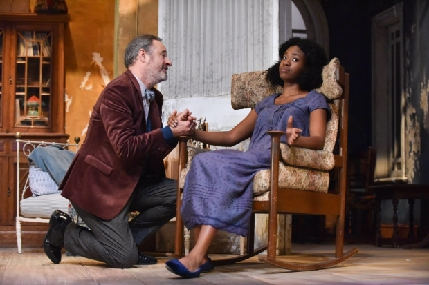 <p>(L-R) Robin Kingsland and Evlyne Oyedokun in <em>The Cherry Orchard</em></p><br />© Robert Day
