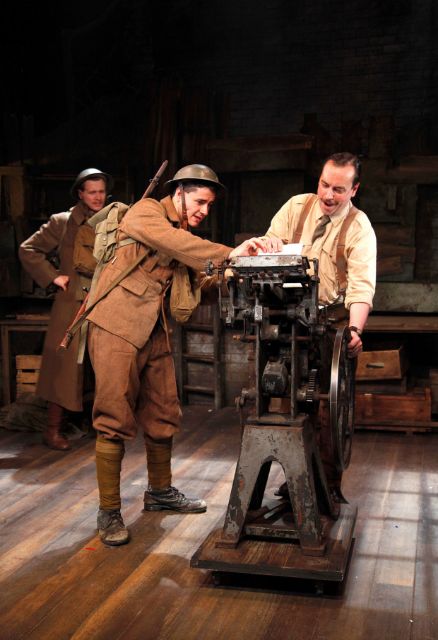 <p>L to r Sam Ducane, Jake Morgan, Dan Tetsell in <em>The Wipers Times</em></p><br />© Philip Tull