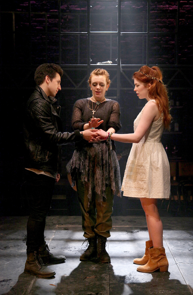 <p>L to R Stuart Wilde (Romeo), Rebecca Lee (Friar Laurence), Lucy Keirl (Juliet) in <em>Romeo &amp&#x3B; Juliet</em></p><br />© Philip Tull