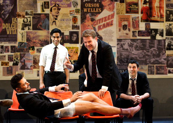 <p>(left to right) Dominic Cooper, Sacha Dhawan, James Corden and Philip Correia in <em>The History Boys</em> by Alan Bennett (recreating their roles in the play which premiered at the NT in 2004)</p><br />© Catherine Ashmore
