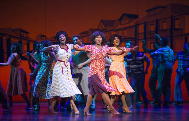 <p>Left to right: Keisha Amponsa Banson, Aisha Jawando, Cleopatra Rey as Martha Reeves and the Vandellas in<em> Motown the Musical</em></p><br />© Alastair Muir