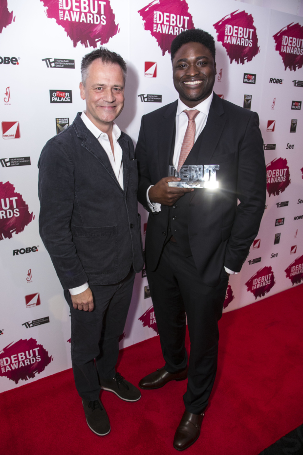 <p>Lekan Lawal accepts the Award for Best Director, presented by Michael Grandage</p><br />© All images are copyright Dan Wooller, 2017