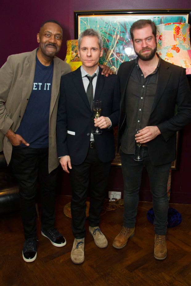 <p>Lenny Henry (Arturo Ui), Bruce Norris (author) and Simon Evans (director)</p><br />© Dan Wooller for WhatsOnStage