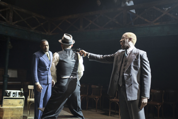 <p>Lenny Henry (Arturo Ui), Tom Edden (Ragg) and Giles Terera (Roma)  in <em>The Resistible Rise of Arturo Ui</em></p><br />© Helen Maybanks