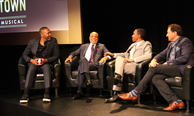 <p>Lenny Henry (Host), Berry Gordy, Charles Randolph-Wright (Director) and Kevin McCollum (Producer) at the<em> Motown The Musical launch</em>.</p><br />(c) Craig Sugden.
