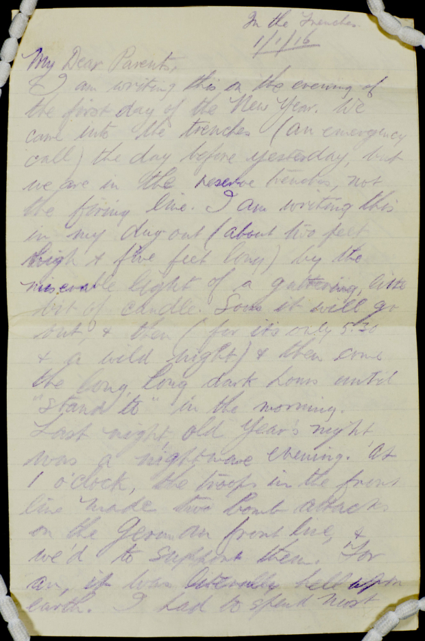 <p>Letter from JB Priestley from the trenches, 1916 </p><br />© The Estate of JB Priestley
