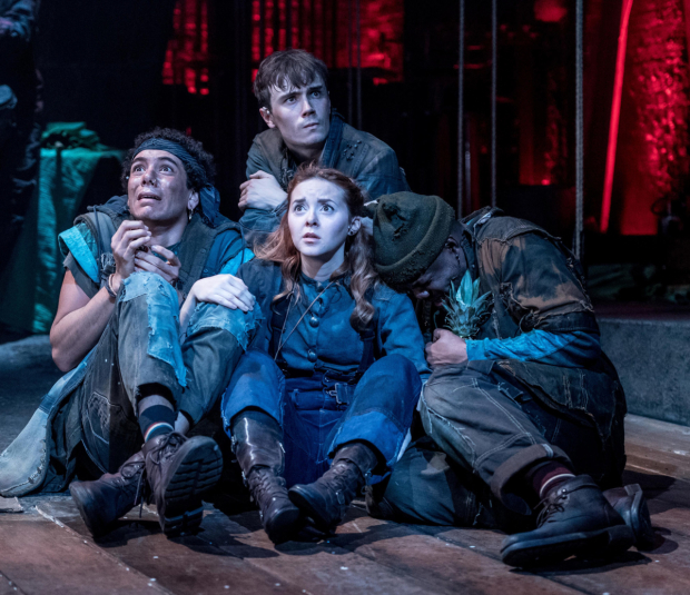 <p>Lewis Griffin, Evelyn Hoskins, Michael Shea, Tendayi Jembere in <em>Peter and the Starcatcher</em></p><br />© Manuel Harlan