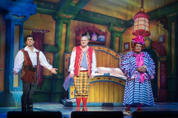 <p>Liam Tamne as Jack, Al Murray as Barman Al and Clive Rowe as Dame Trot in <em>Jack and the Beanstalk</em></p><br />© Craig Sugden