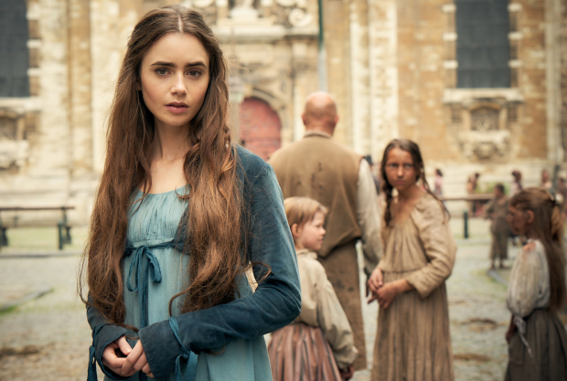 <p>Lily Collins as Fantine</p>