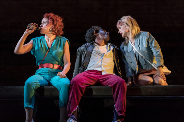 <p>Liz White (Carol/Valerie), Lemn Sissay (Scullery) and Faye Marsay (Louise/Clare)</p><br />© Johan Persson