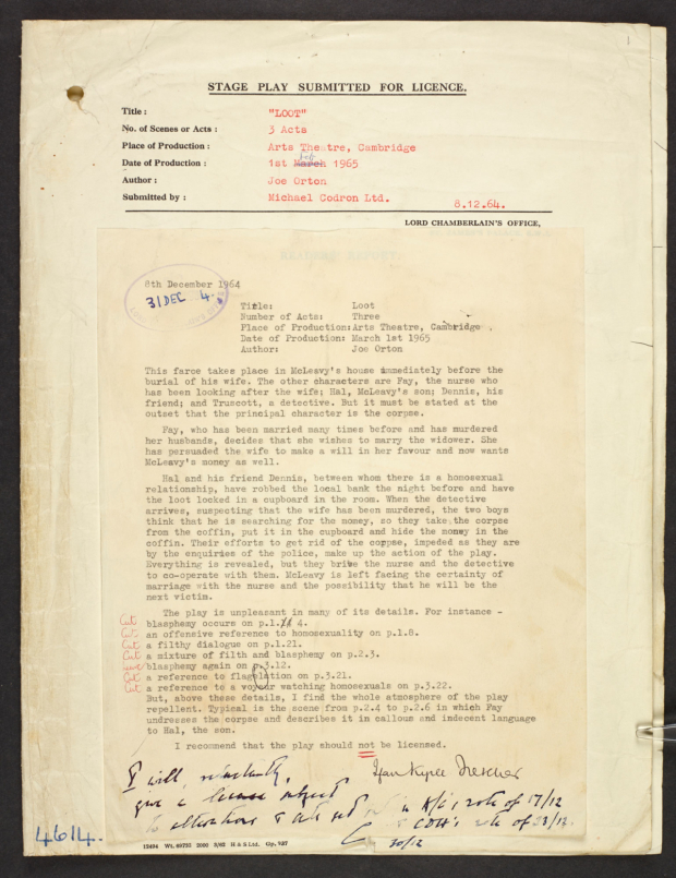 <p>Lord Chamberlain&#39&#x3B;s report and correspondence about Loot by Joe Orton </p><br />©The British Library Board / Crown