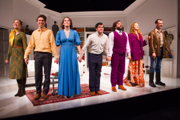 <p>Lowenna Melrose (Liz),Tom Rosenthal (Donald), Charlotte Ritchie (Celia), Simon Bird (Philip), Matt Berry (Braham), Lily Cole (Araminta) and John Seaward (John) during the curtain call</p><br />© Dan Wooller for WhatsOnStage