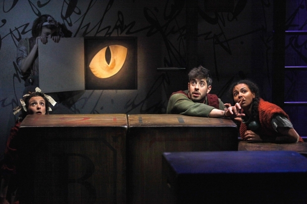 <p>L to R Charlotte Workman, Matthew Romain and Nenda Neurer in <em>The Borrowers</em></p><br />© Philip Tull