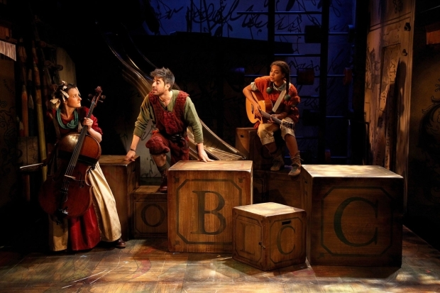 <p>L to R Charlotte Workman, Matthew Romain, Nenda Neurer in <em>The Borrowers</em></p><br />© Philip Tull