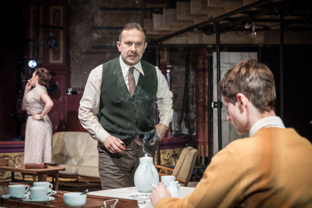 <p>Lucy Cohu (Louise), Jason Merrells (Stanley Harrington) and Tom Morley (Clive)</p><br />© Marc Brenner