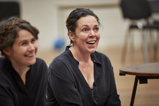 <p>Lucy Kirkwood and Olivia Colman in rehearsals for <em>Mosquitoes</em></p><br />© Brinkhoff/Moegenburg