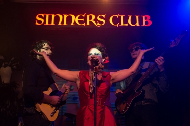 <p>Lucy Rivers and Aidan Thorne in <em>Sinners Club</em></p><br />© Kieran Cudlip