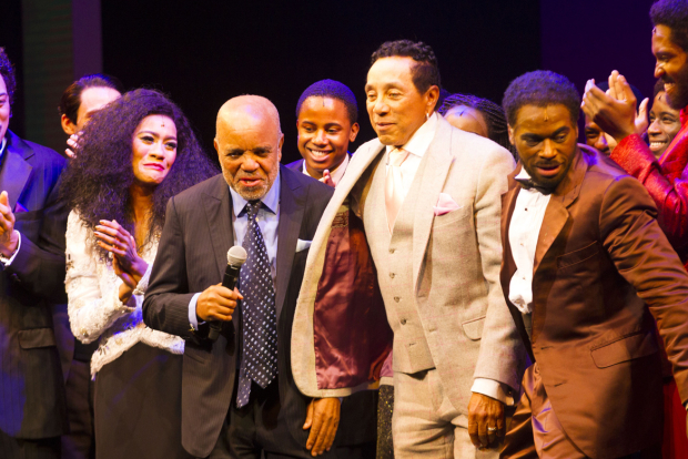 <p>Lucy St Louis (Diana Ross), Berry Gordy, Smokey Robinson and Cedric Neal (Berry Gordy)</p><br />© Dan Wooller for WhatsOnStage