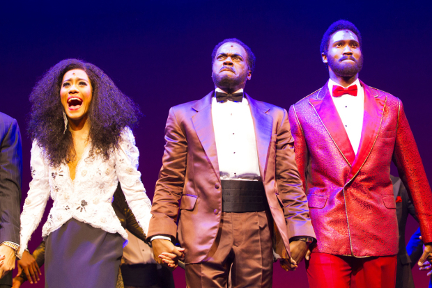 <p>Lucy St Louis (Diana Ross), Cedric Neal (Berry Gordy) and Sifiso Mazibuko (Marvin Gaye)</p><br />© Dan Wooller for WhatsOnStage