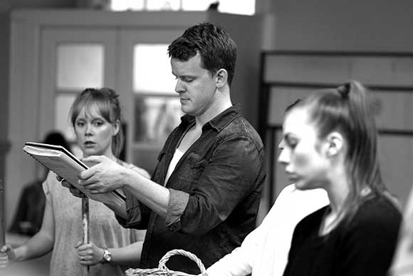 <p>Luke Fredericks (Director) and Company in rehearsal for <em>Carousel</em></p><br />© QNQ Creative