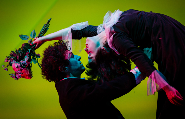 <p>Marc Antolin as Marc Chagall Audrey Brisson as as Bella Chagall in <em>The Flying Lovers of Vitebsk</em></p><br />(C) Steve Tanner