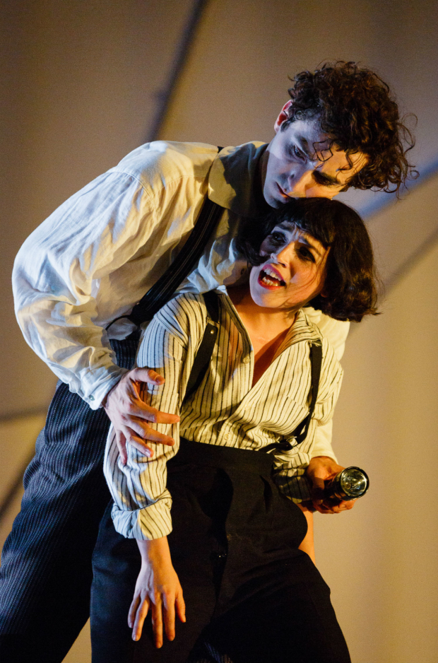<p>Marc Antolin as Marc Chagall Audrey Brisson as  Bella Chagall in <em>The Flying Lovers of Vitebsk</em></p><br />(C) Steve Tanner