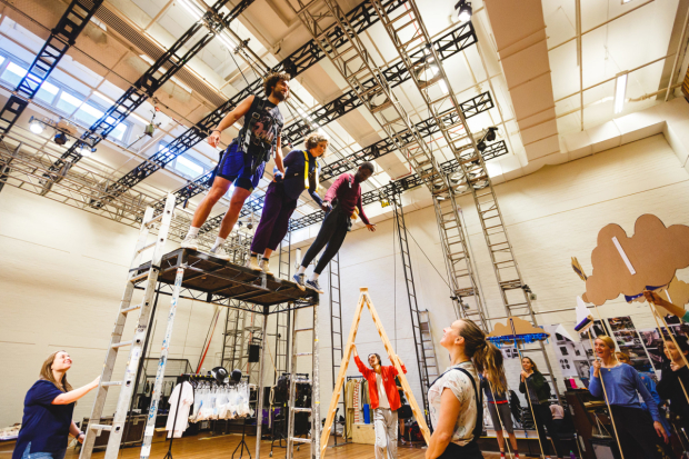 <p>Marc Antolin (John), Madeleine Worrall (Wendy) and John Pfumojena (Michael) rehearse a flying sequence for <em>Peter Pan</em></p><br />© Steve Tanner 2016