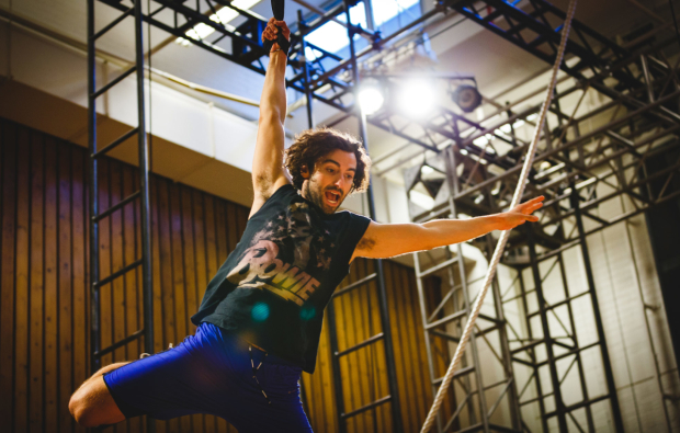 <p>Marc Antolin (John) rehearses flying for <em>Peter Pan</em></p><br />© Steve Tanner 2016