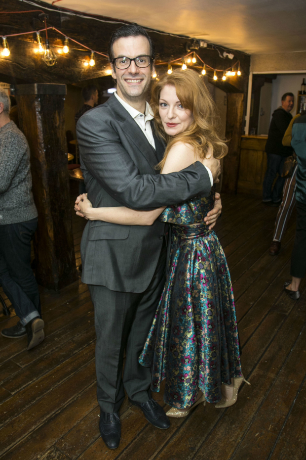 <p>Marcus Brigstocke (PT Barnum) and Laura Pitt-Pulford  (Charity Barnum)</p><br />(C) Dan Wooller for WhatsOnStage
