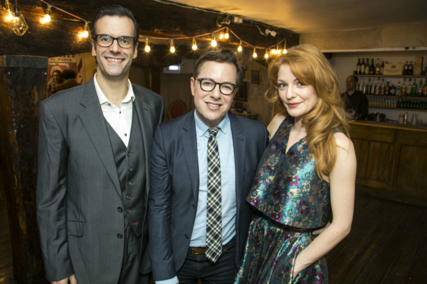 <p>Marcus Brigstocke (PT Barnum), director Gordon Greenberg and Laura Pitt-Pulford  (Charity Barnum)</p><br />(C) Dan Wooller for WhatsOnStage