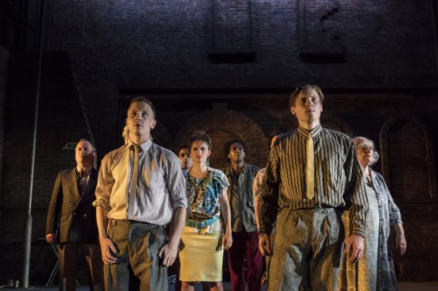 <p>Mark Hadfield (Jerry/Brian), Mike Noble (Eddie/Skin-Lad), Faye Marsay (Louise/Clare), Lemn Sissay (Scullery), Dan Parr (Brink) and June Watson (Molly)</p><br />© Johan Persson