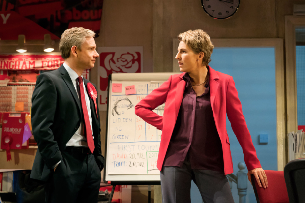 <p>Martin Freeman (David Lyons), Tamsin Greig (Jean Whittaker) in <em>Labour of Love</em></p><br />© Johan Persson