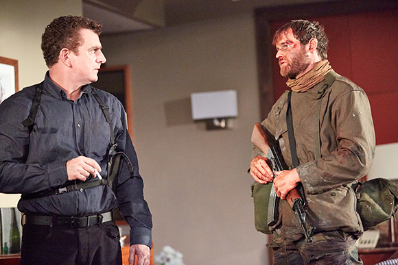 <p>Martin Marquez as Ian, Mark Stanley as Soldier in <em>Blasted</em></p><br />Mark Douet