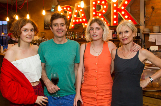 <p>Mary Higgins, Paul Higgins (Barry/Basil), Flora Higgins and Amelia Bullmore</p><br />© Dan Wooller for WhatsOnStage