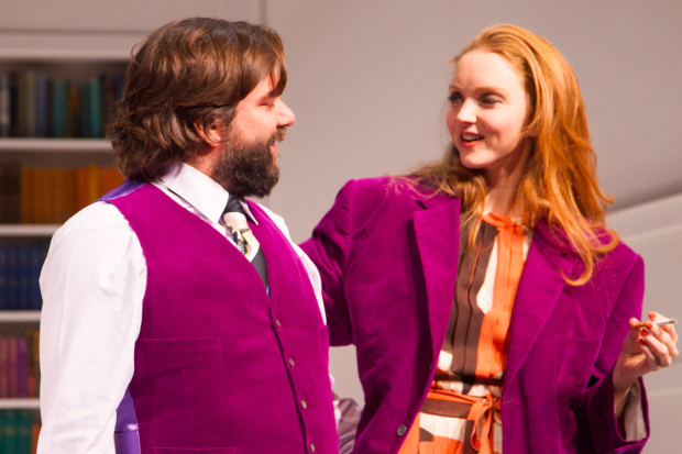 <p>Matt Berry (Braham) and Lily Cole (Araminta) during the curtain call</p><br />© Dan Wooller for WhatsOnStage