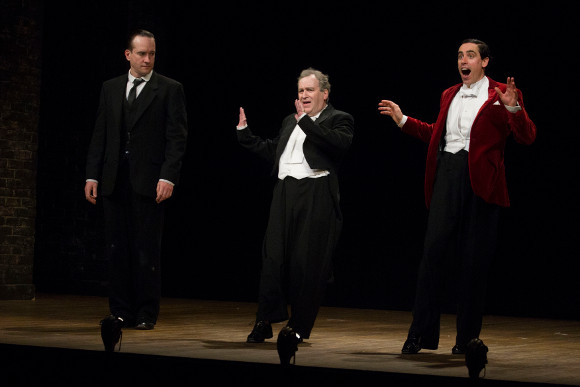 <p>Matthew Macfadyen, Mark Hadfield and Stephen Mangan during the curtain call</p><br />© Dan Wooller for WhatsOnStage