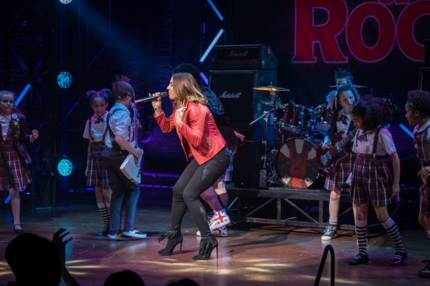 <p>Mel C performs with the kids from <em>School of Rock The Musical</em></p><br />© Craig Sugden